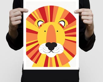 nursery animal print - lion print - wild animal, sarafi nursery, kids art nursery decor, jungle wall art, lion illustration, babies room art