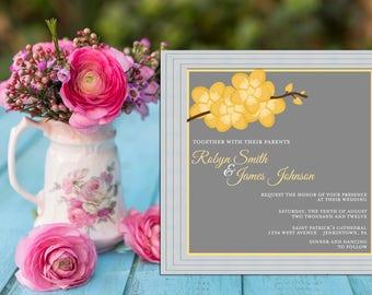 Orchid Branch Modern Wedding Invitation PRINTABLE / DIY