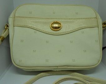 MONET Vintage Cream Classic Signature Crossbody Handbag Gold Hardware.