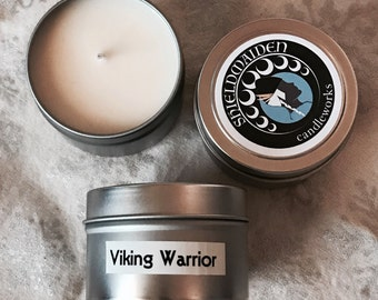 """Mahogany leather spice Scent soy candle """"Viking Warrior"""" 4oz Soy Viking Candle Travel Tin Shieldmaiden Candleworks candle"""