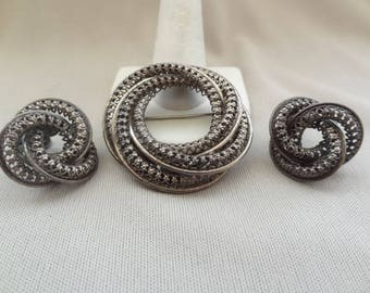 Gorgeous Vintage DANECRAFT Sterling Openwork Pin & Earring Set