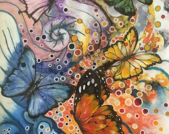 Original painting, Rainbow butterflies