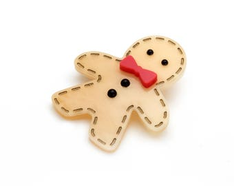 Gingerbread Man Brooch Christmas Brooch Gingerbread Pin Christmas Jewelry Holiday Brooch Holiday Jewelry Stocking Stuffer Gingerbread Boy