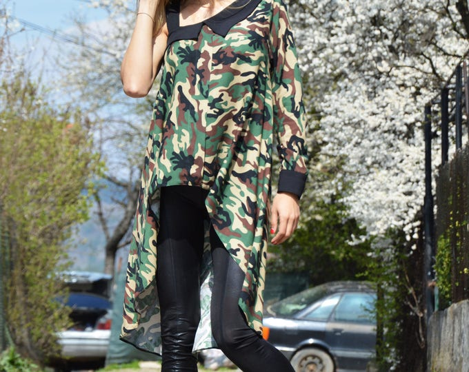 Military Long Tunic, Loose Dress, Plus Size Tunic, Oversize Plus Size Top, Womens Blouses, Long Sleeve And Sleeveless Tunic by SSDfashion