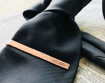 Copper Tie Clip Textured surface and Hand Stamped  6cm Length 7th Anniversary Boyfriend Wedding for Groom, Ushers, Best Man and Groomsmen