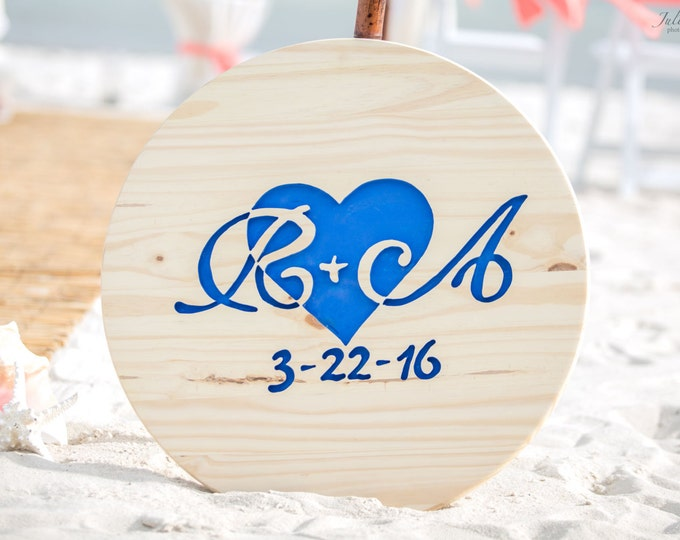 Carved Wedding Guest Book Alternative Wood Sign with Initials, Nautical Guestbook ideas, Rustic Wooden Guest book