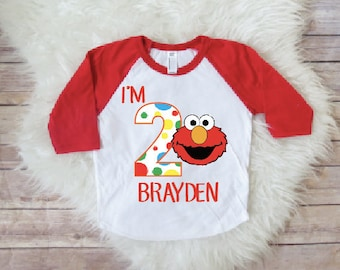 Elmo birthday shirt, ANY NAME and number, baby boy birthday, elmo birthday party, elmo theme shirts, personalized birthday shirt