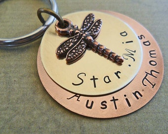 Dragonfly Keychain -Personalized Keychain-Dragonfly Gift - Wedding Gift - Custom Names- Rustic Gift- Dragonfly Jewelry  - K9
