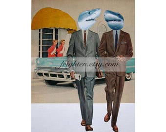 Retro Shark Art, One of a Kind Paper Collage, 9 x 12 Inch Man Cave Decor, Gift for Men, Original Collage Art, frighten