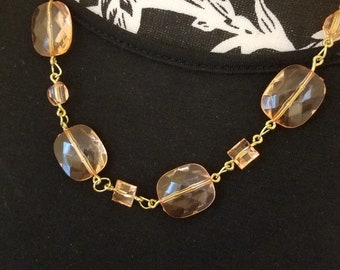 Peach and gold acrylic bead necklace