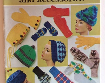 Coats and Clark Book No. 163 Knit and Crochet 1965 Vintage Book Retro  Knit Socks Mittens Scarves Vintage Knit Booklet