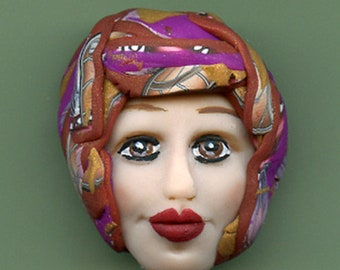"OOAK Polymer clay Detailed Caned hat face cab  Blue , Abstract  1 1/4 ""  SMCN 3"