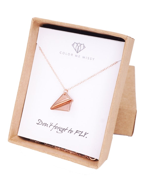 Rose Gold Paper Airplane necklace - simple rose gold filled necklace with paper airplane, Childhood, Best friends, sister, cousin - N0005RG