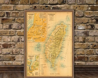 Taiwan map - Old map of  Taiwan fine reproduction - Giclee print