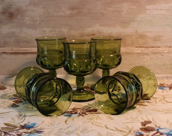 Vintage Indiana Glass King's Crown Green Thumb Print Glasses, Set of 5