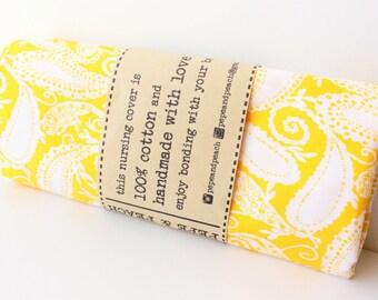 Breastfeeding Cover ~ Nursing Cover ~ Nursing Apron ~ Nursing Apparel ~ Maternity ~ New mum gift ~ Baby shower ~ 100% Cotton~Yellow~ Paisley