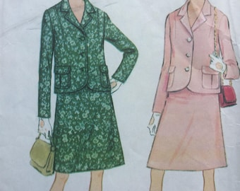 """Sewing Pattern - suit pattern - pattern for ladies Suit -  Bust 31-31.5"""", Vintage Sewing Pattern -  1960s suit pattern"""