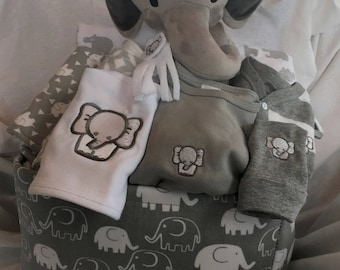 Unique baby gifts made with love by scsewingcreations on etsy elephant baby boy gift basket gray baby gift basket baby shower gift new negle Image collections