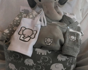 Unique baby gifts made with love by scsewingcreations on etsy elephant baby boy gift basket gray baby gift basket baby shower gift new negle Images
