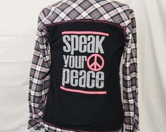 Pink and Black Flannel Dickies shirt with Speak your peace in black jersey