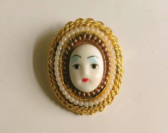 Vintage Girl Face Brooch . Woman's Face . Cameo . White Pearls . Golden Filigree Frame . Copper Frame - Cute Faces  by enchantedbeas on Etsy