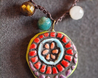Boho Necklace Crochet Necklace Beaded Necklace Tile Pendant Colorful Necklace Pottery Necklace & Semiprecious Stones Jewlery Gift for Her