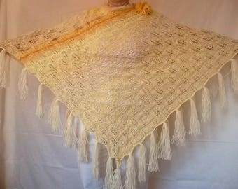 Oversized PONCHO Ready To Ship OOAK Wedding Accessories Shrug Shawl Hand Knitted Cape Gift Crochet Capelet Women Plus Size With Fringes