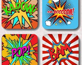 Pop art coasters, fun,gift,present,art,