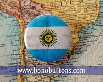 Argentina Flag Pinback Button, Magnet, Badge, Argentina Button, Argentina gift, Buenos Aires Pin, Souvenir Gift, Traveler Argentina Keychain