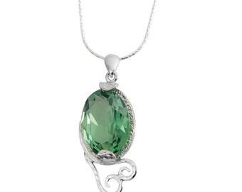 Sterling Silver Green Swarovski Holiday Necklace