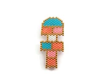 Hopscotch woven Miyuki beads brooch