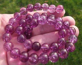 2 beads purple round Tourmaline AAA. 10 MM.