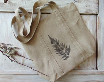 Linen fabric tote bag, market bag, shopper bag, linen tote, fabric, linen, strap bag, ink print, reusable, farmhouse, natural