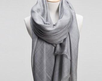 Oversize Gray Wool fringe Scarf - Grey Wool fringe Scarf - Oversize wool scarf- Solid Color Wool Scarf - LightWeight Wool Scarf - 2017A