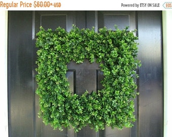 SPRING WREATH SALE Front Door Wreath, 20 inch Square Boxwood Wreath (shown), Spring Outdoor Wreath,  Front Door Decor, Wedding Wreath, Thin