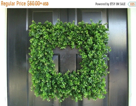 SPRING WREATH SALE Front Door Wreath, 20 inch Square Boxwood Wreath (shown), Spring Outdoor Wreath,  Front Door Decor, Wedding Wreath, Thin