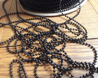 CLEARANCE SALE Shop Closing Going Out of Business 10 Yards Black Plastic Ball Chain, Plastic Bead Chain, Mardi Gras Beads