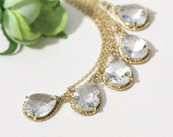 Bridesmaid gifts - Set of 7,8,9,10 - Clear white crystal drop necklace, Gorgeous Drop ,stone in twisted bezel