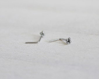 Sterling Silver Beaded Nose/ Tragus Stud. Piercing Jewelry. Small Unique Nose Stud. Tragus Jewelry. Bali Bead. Bollywood. Indian Inspired.