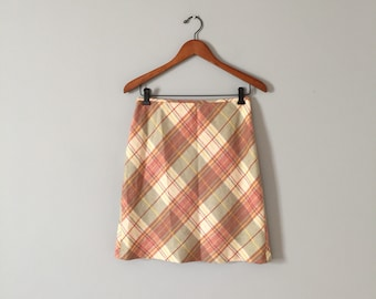 peach and sage plaid skirt | 1990s Ann Taylor wool mini skirt | pastel plaid skirt