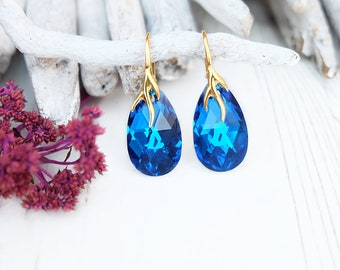 Blue crystal earrings Royal blue bridal earrings Royal blue Swarovski teardrop earring Rose gold bridal Earrings Blue bridesmaid earrings 5