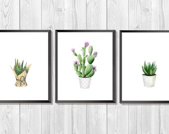 Cactus Watercolor. Cactus art print. Set of 3 prints. Succulent printable art. Blooming cacti art. Botanical print set. Southwestern art.