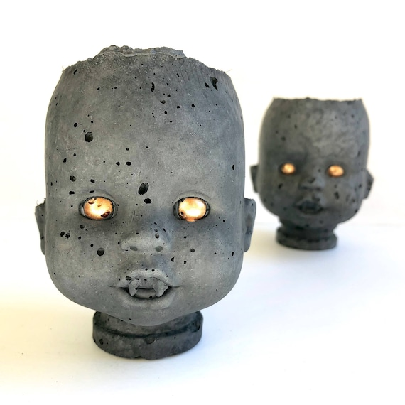 PeaboZombie Baby Doll Head Planter V2.0 (fangs)- Hypertufa