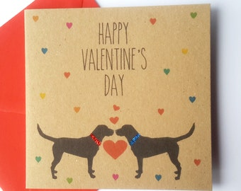 Black Labrador Valentine Card - Happy Valentine's Day