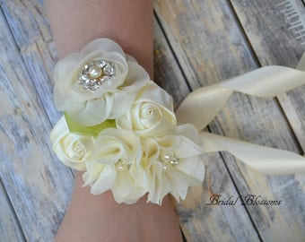 Ivory Chiffon Satin Flower Wrist Corsage | Vintage Inspired Wedding | Mother of the Bride | Bridal Shower | Easter | Boutonniere Cream