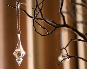 Set of 12 - Pendant Hanging Acrylic Ornament Drop Wedding Decorations - Centerpiece - Chandelier Parts ( 12 pieces per pack )