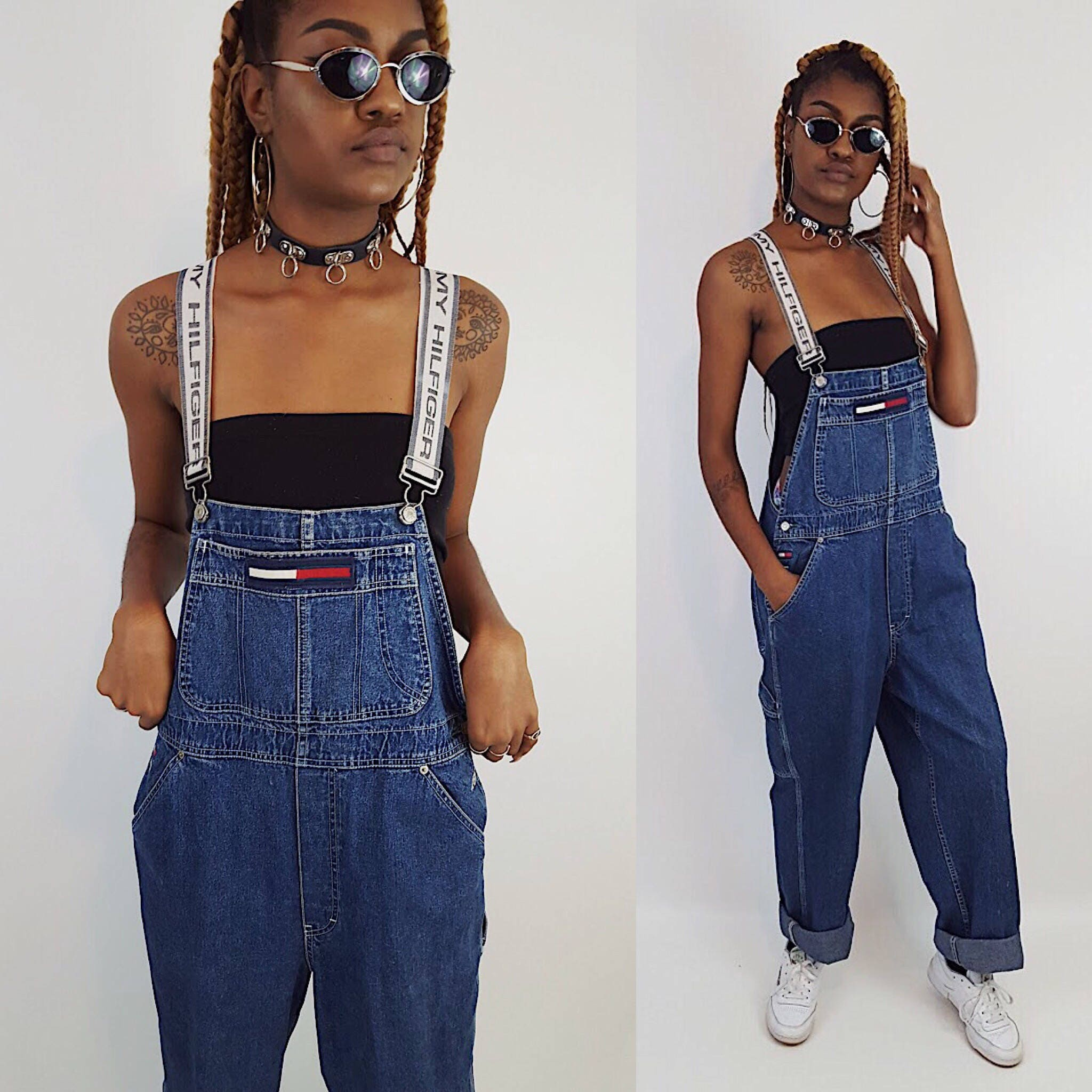 90 S Tommy Hilfiger Denim Overalls Blue Jean Pants