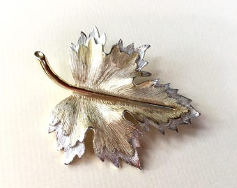 Vintage Two Tone Silver and Gold Leaf Brooch or Pin by Sarah Coventry