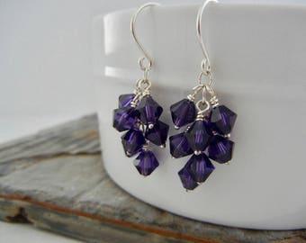 Purple Passion Dangle Earrings -  Sterling Silver Earrings - Cascade Earrings - Deep Purple Crystal Cluster Earrings - Bridesmaid Earrings