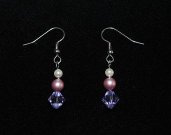 Swarovski Crystal and Pearl Dangle Earring in Rose/Violet/Cream
